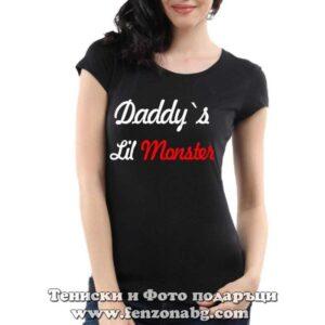 Дамска тениска с надпис Daddy's lil monster