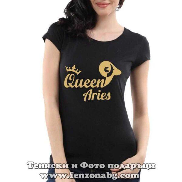 Дамска тениска с надпис – Queen aries