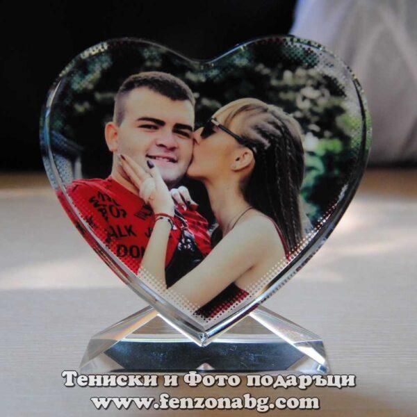Кристално сърце със снимка