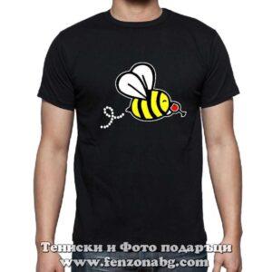 Мъжка тениска с надпис Пчела пие вино