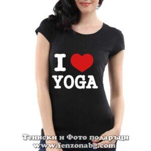 Дамска тениска с надпис I love yoga