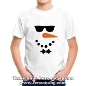 Детска коледна тениска със снежен човек