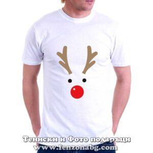 Мъжка коледна тениска с елен