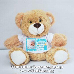 Мече с тениска бебешка визитка и снимка