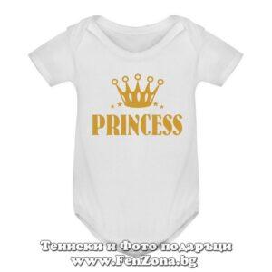 Бебешко боди за момче с надпис - Princess