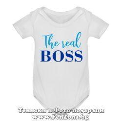 Бебешко боди с надпис - The real boss