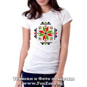 Дамска тениска с шевица