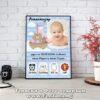Фото рамка със снимка и пожелание - размер А3 - бебешка визитка за момче