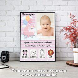 Фото рамка със снимка и пожелание - размер А3 - бебешка визитка за момиче