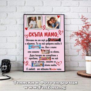 Фото рамка със снимка и пожелание - размер А3 - Скъпа мамо