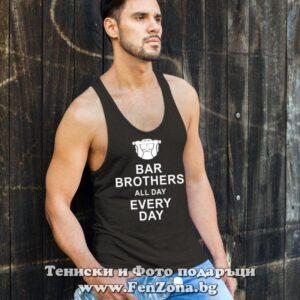 Фитнес потник с надпис Bar Brothers All Day Every Day