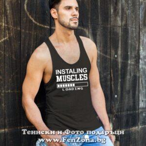 Фитнес потник с надпис Instaling Muscles