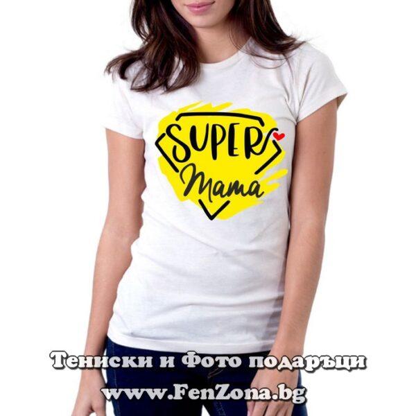 Дамска тениска с надпис Super Mama