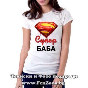 Дамска тениска с надпис Супер Баба