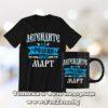 Комплект черна тениска и чаша - Легендите са родени през март