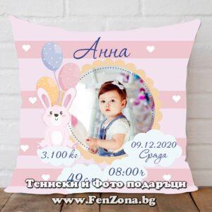 Бебешка възглавница визитка със снимка