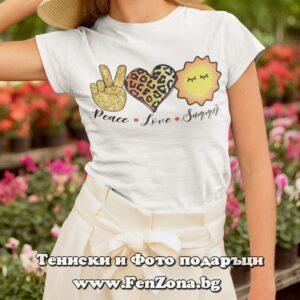 Дамска тениска с надпис Peace Love Summer 03
